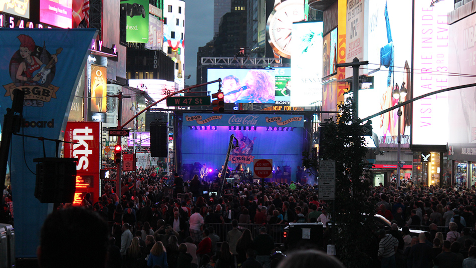 The south stage by night at the 2013 CBGB Music Festival